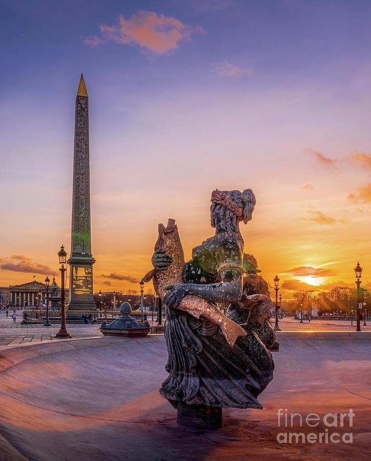 France Photograph - Paris Place de la Concorde Obelisk Sunset by Thomas Speck