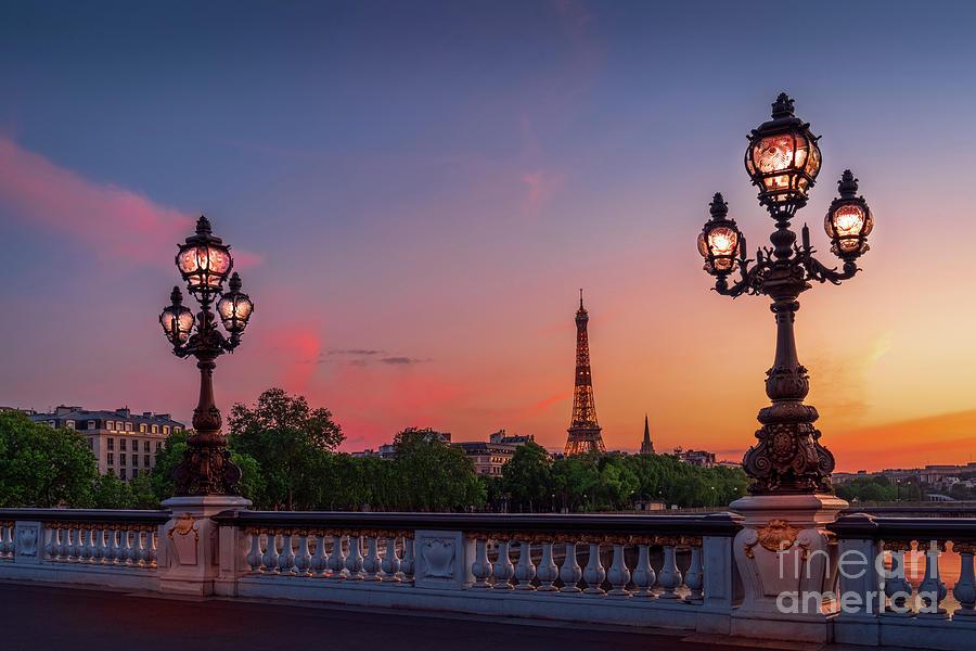 Eiffel Tower Photograph - Paris Pont Alexandre trois Eiffel-Tower Sunset colorful by Thomas Speck
