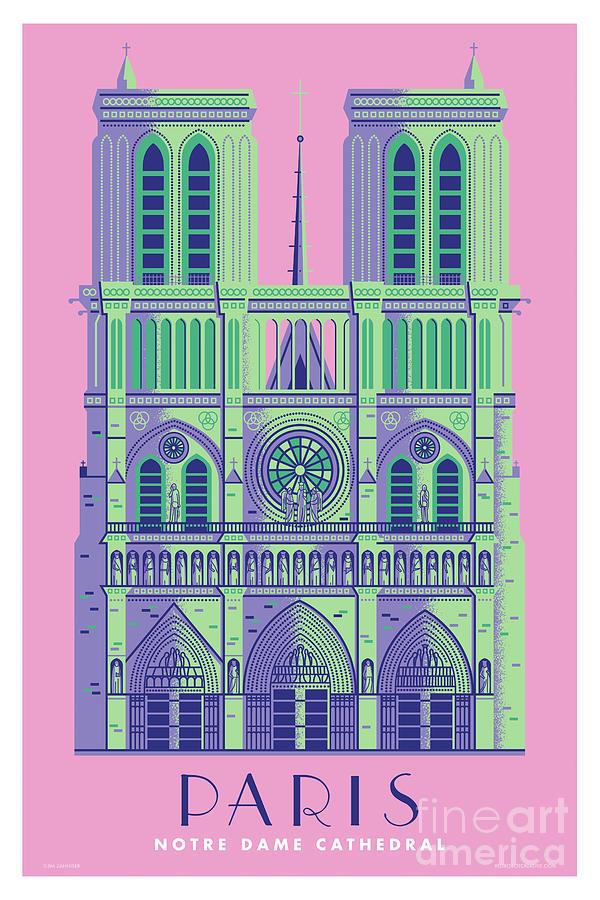 Mid Century Modern Digital Art - Paris Poster Notre Dame Cathedral - Retro Travel Poster  by Jim Zahniser