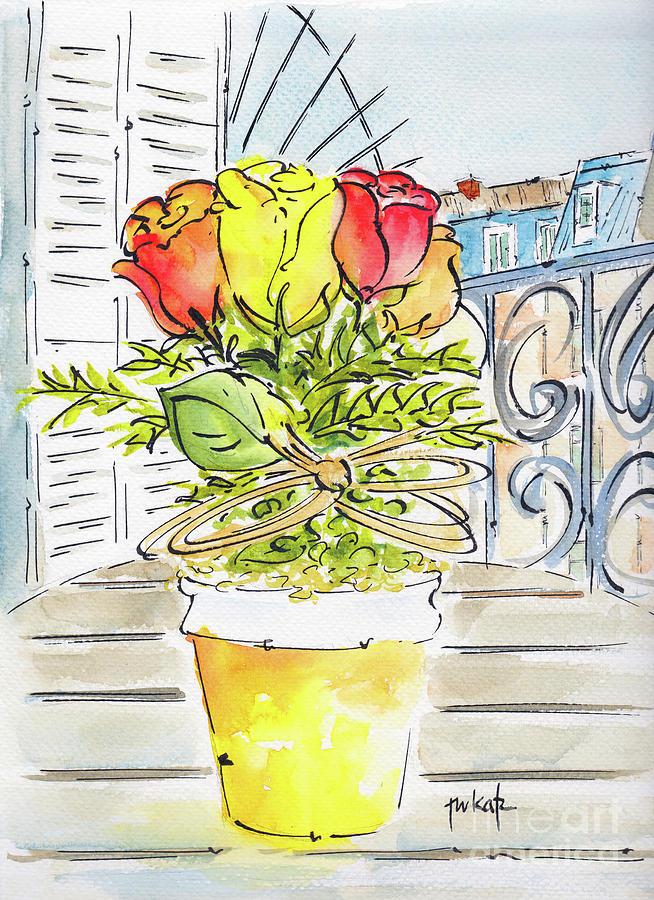 Paris Pot Of Roses On Rooftop Terrace by Pat Katz