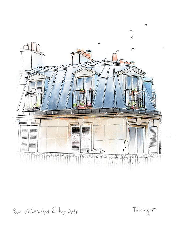 France Drawing - Paris Rooftop by Peter Farago