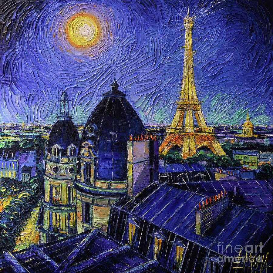 Paris Rooftops Painting - PARIS ROOFTOPS IN MOONLIGHT palette knife oil painting Mona Edulesco by Mona Edulesco