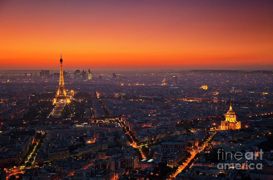 Paris Skyline at Sunset by Neale And Judith Clark
