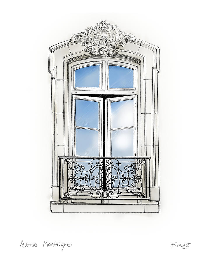 Parisian Window Drawing by Peter Farago