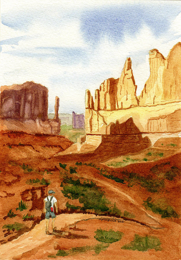 Park Avenue And Courthouse Towers, Arches Np Painting