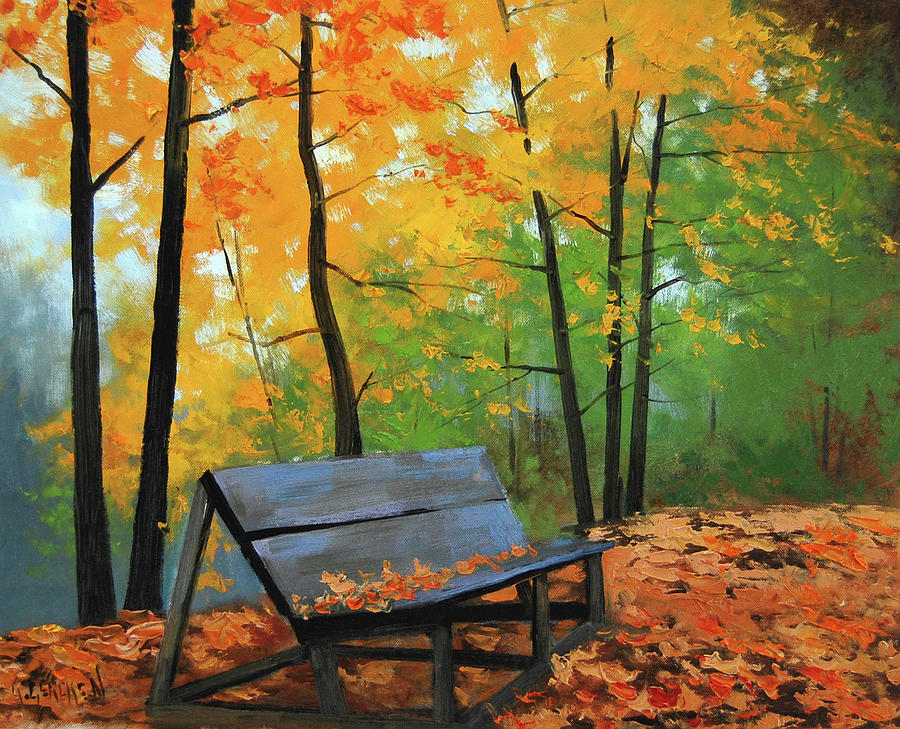 Fall Painting - Park Bench  by Graham Gercken