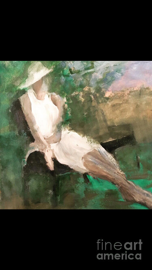 Figurative Abstract Painting - Park Bench  by Mark Macko