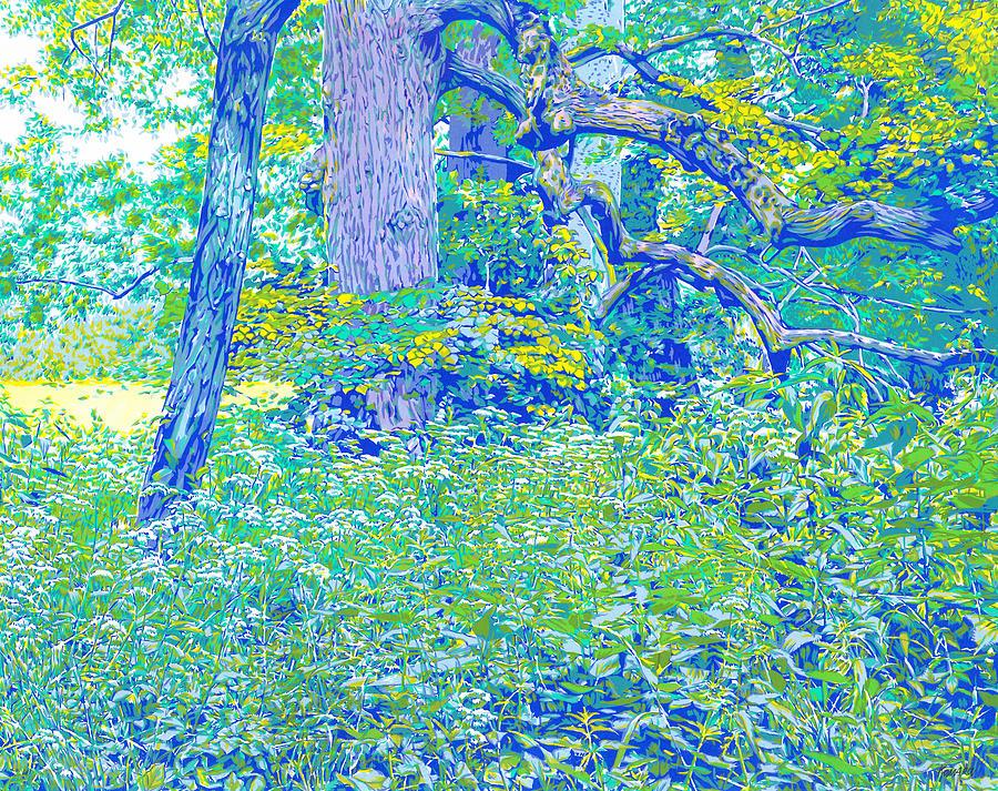 Landscape Mixed Media - Park green landscape colorful impressionism forest nature grass sunlit landscape by Vitali Komarov
