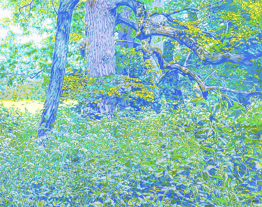 Landscape Mixed Media - Park green landscape by Vitali Komarov