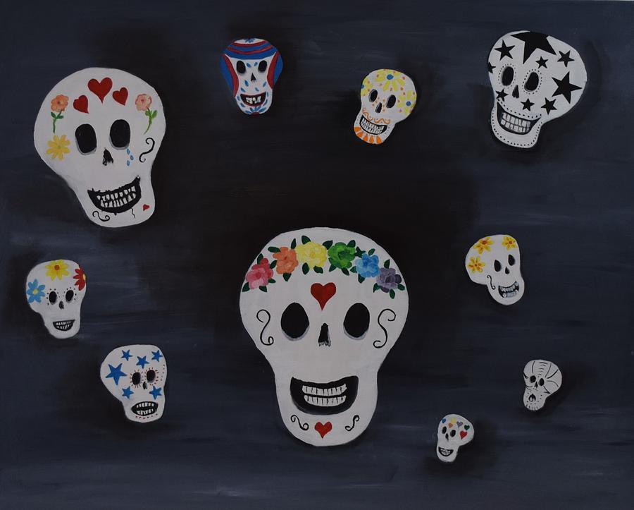 Skull Painting - Party of Ten by Charla Van Vlack