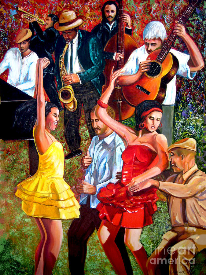 Salsa Painting - Party times by Jose Manuel Abraham