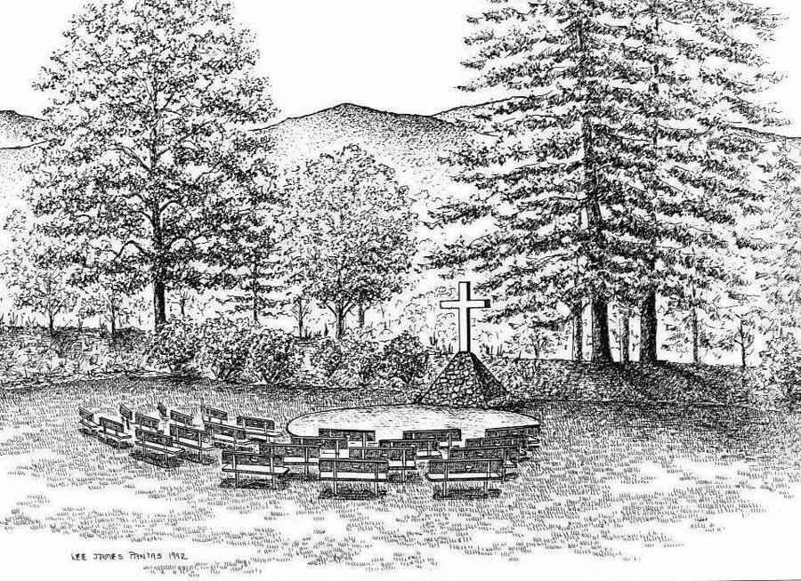 Paryer Garden at Christmount Drawing by Lee Pantas