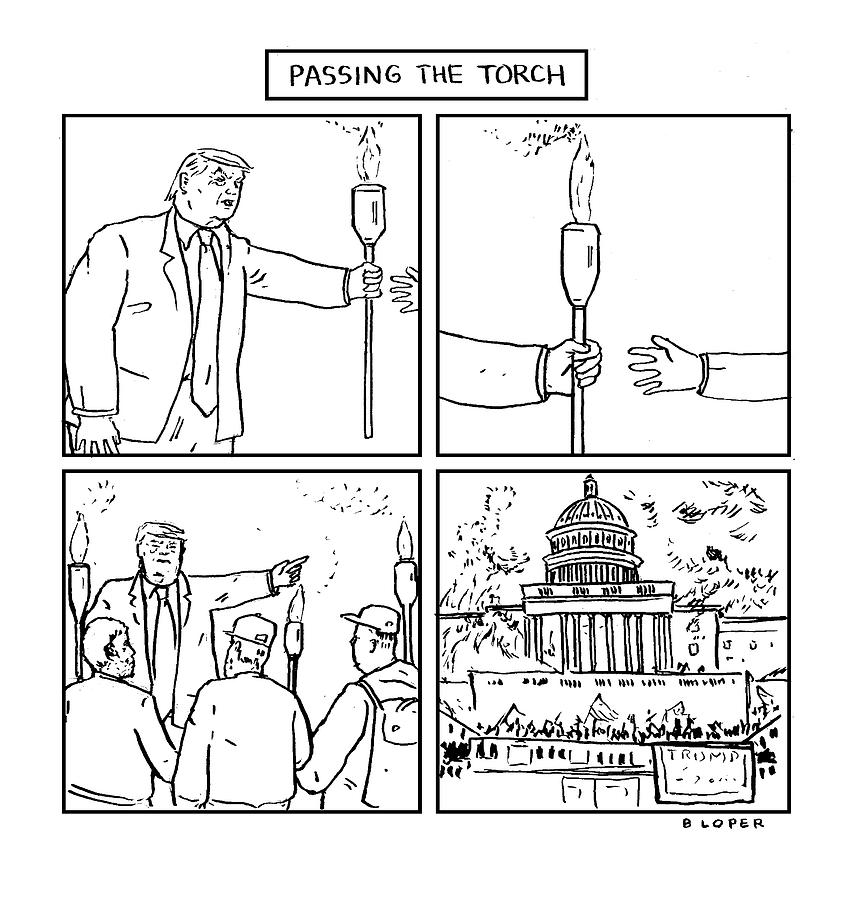 Passing The Torch Drawing by Brendan Loper