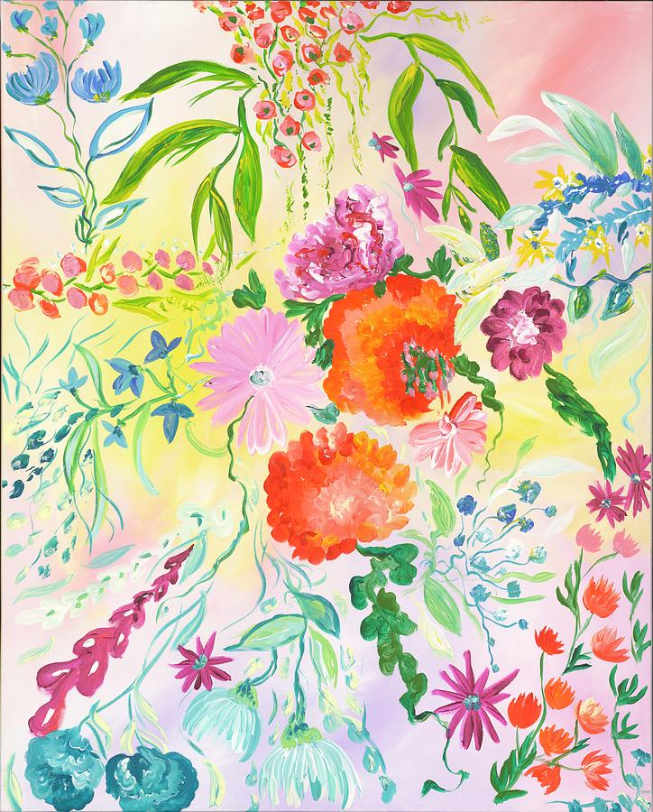 Floral Painting - Pastel Bright Flowers by Britt Miller