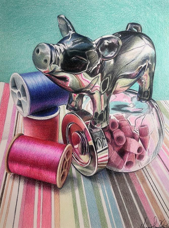 Drawing Drawing - Pastel Piglet by Melanie Stimmell Van Latum