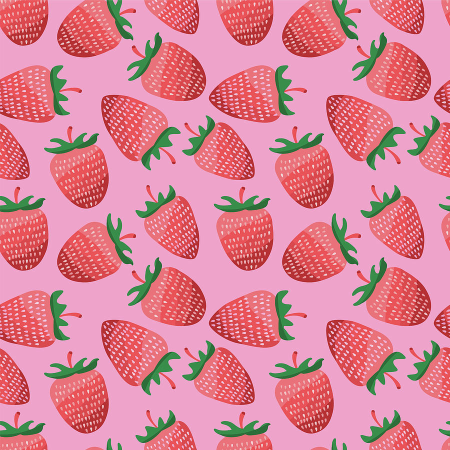 Pastel Seamless Strawberry Pattern. Illustration Design. Drawing
