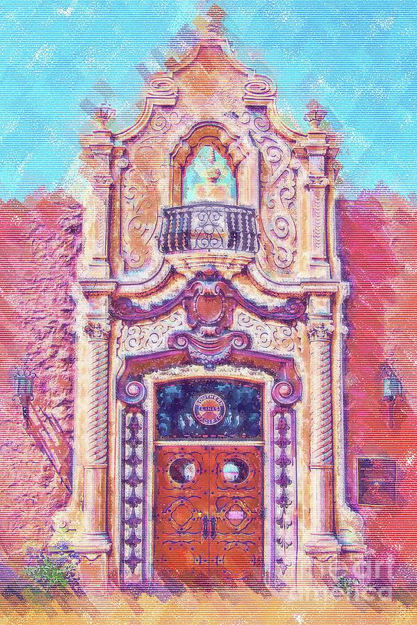 Architectural Details Digital Art - Pastel Train Station Door by Kirt Tisdale