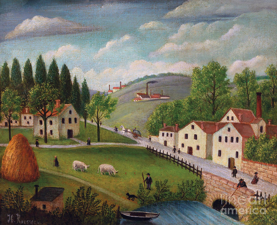 Pastoral Landscape with Stream, Fisherman and Stroller by Henri Rousseau