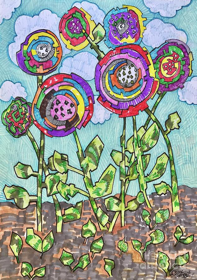 Patchwork Flowers Mixed Media