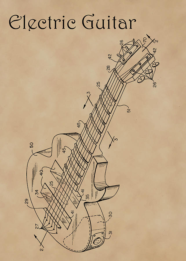 Patent Diagram for Electric Guitar by Karen Foley