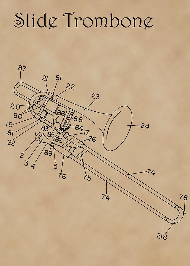 Patent Diagram for Slide Trombone by Karen Foley