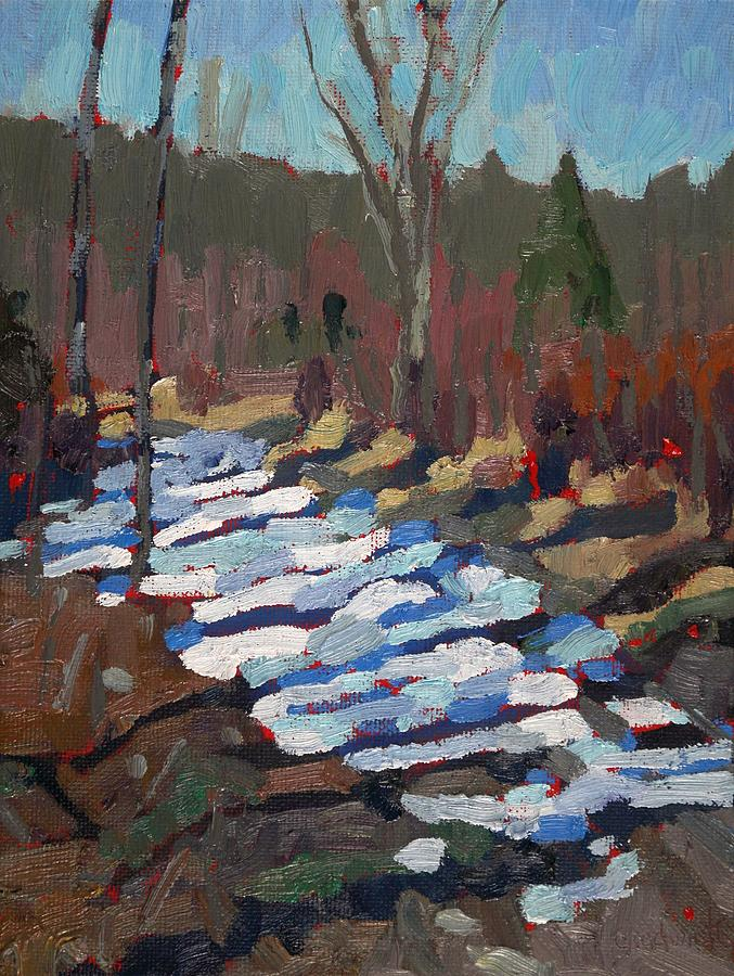 March Painting - Path Behind the PSW by Phil Chadwick