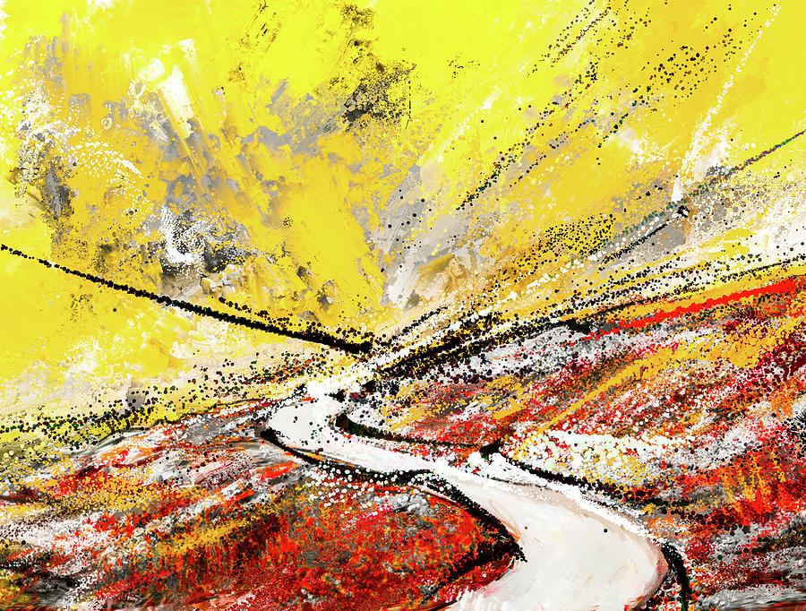 Pathway To Hues -yellow Gray And Red Abstract Art Painting