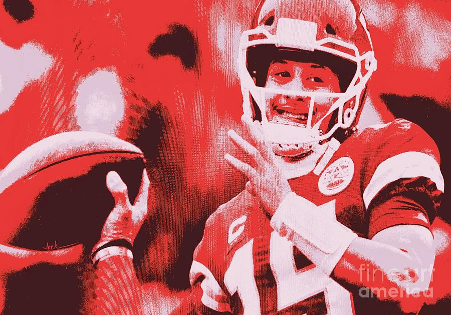 Chiefs Painting - Patrick Mahomes Smiling by Jack Bunds