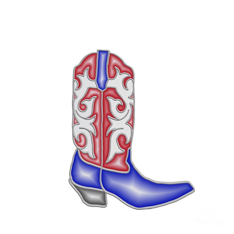 Patriotic Cowboy Boot by Priscilla Wolfe