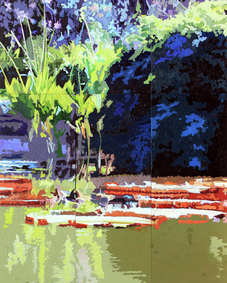 Water Lilies Painting - Patterns on Lily Pond by John Lautermilch