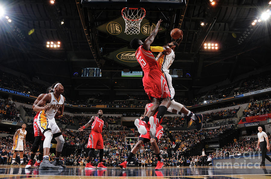 Paul George and Clint Capela Photograph by Ron Hoskins