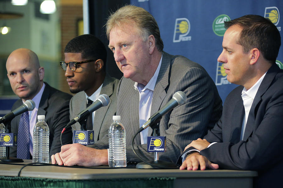 Paul George and Larry Bird Photograph by Ron Hoskins