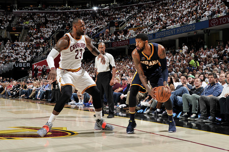 Paul George and Lebron James Photograph by David Liam Kyle