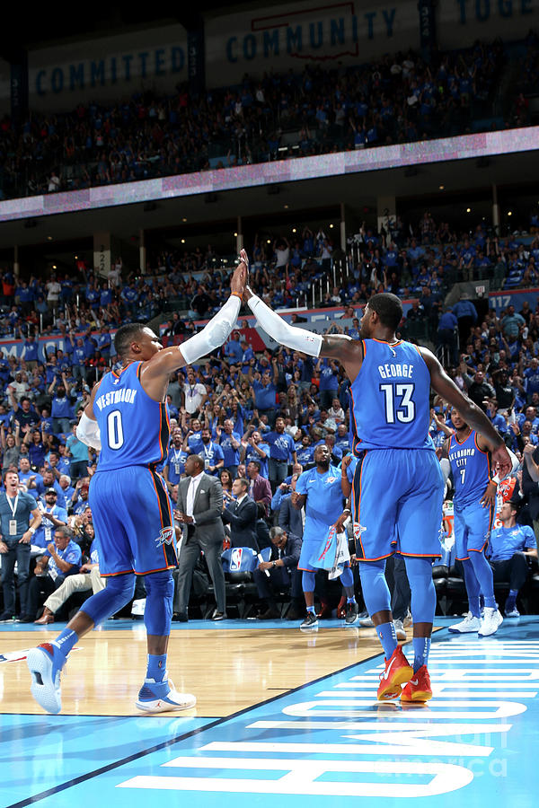 Paul George and Russell Westbrook Photograph by Layne Murdoch
