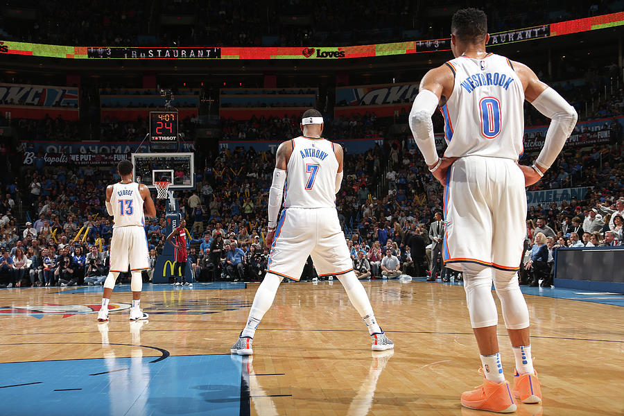 Paul George, Carmelo Anthony, and Russell Westbrook Photograph by Layne Murdoch