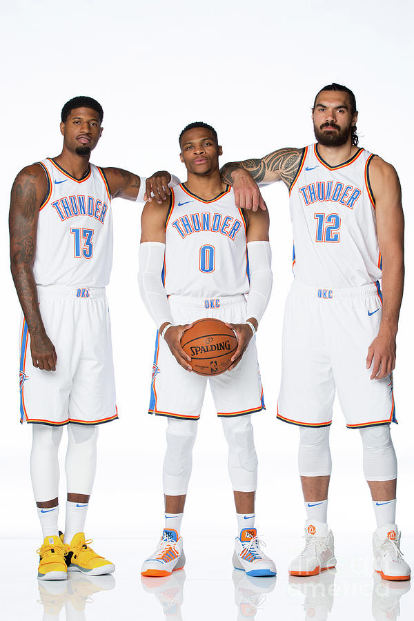 Paul George, Russell Westbrook, and Steven Adams Photograph by Nba Photos