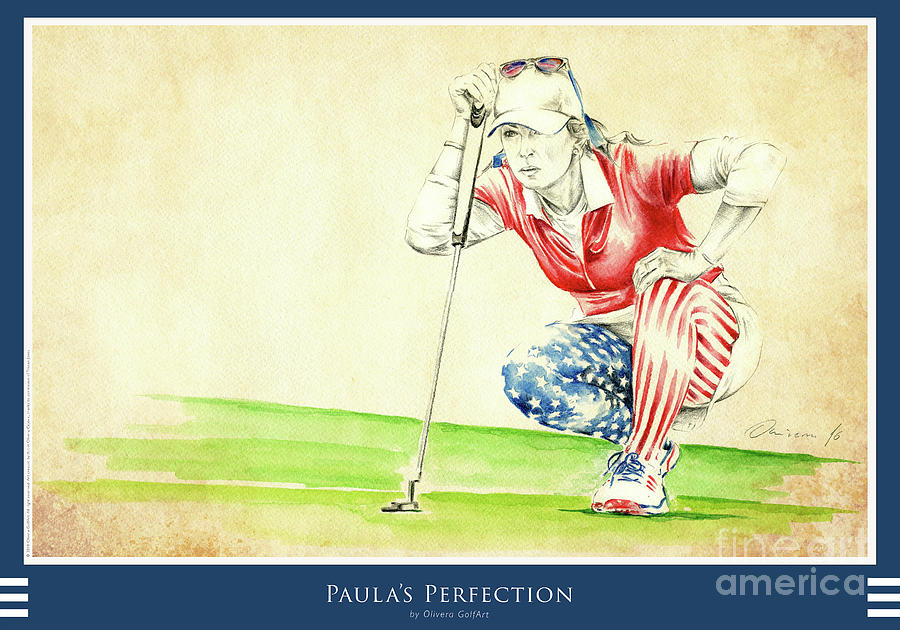 Golfer Painting - Paula Perfection - Poster by Olivera Cejovic