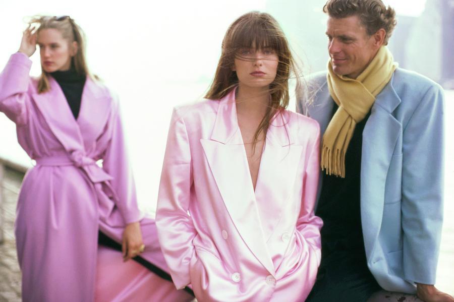 Paulina Porizkova in Pink Perry Ellis Jacket Photograph by Arthur Elgort