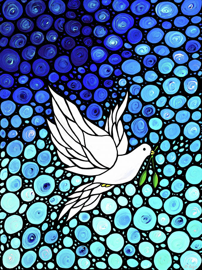 Peace Painting - Peaceful Journey - White Dove Peace Art by Sharon Cummings
