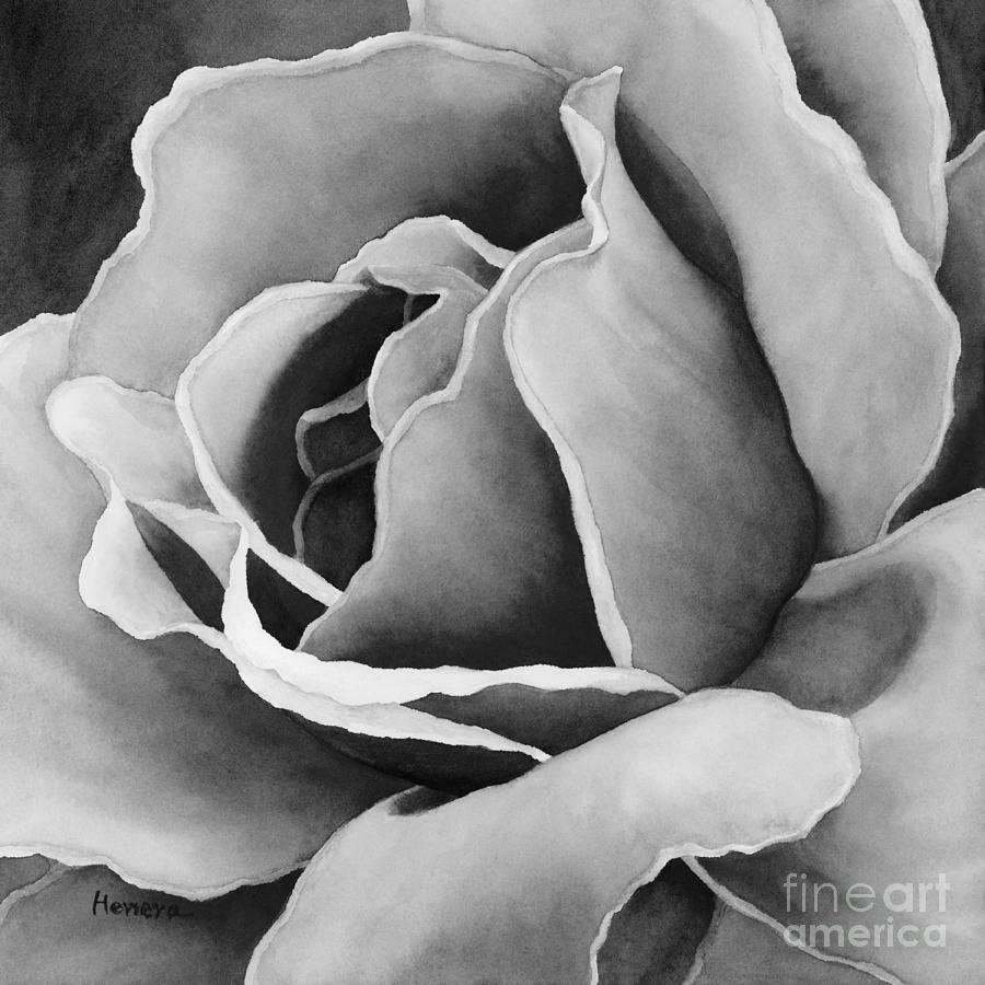 Peach Rose In Black And White Painting