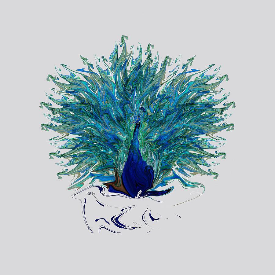 Peacock Abstract Mixed Media