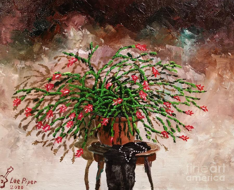 Still Life Painting - Pearls Cactus by Lee Piper