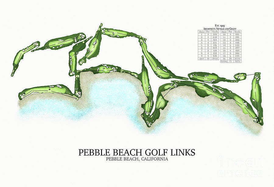 Pebble Beach Golf Links - Course Map Digital Art by Chip ...