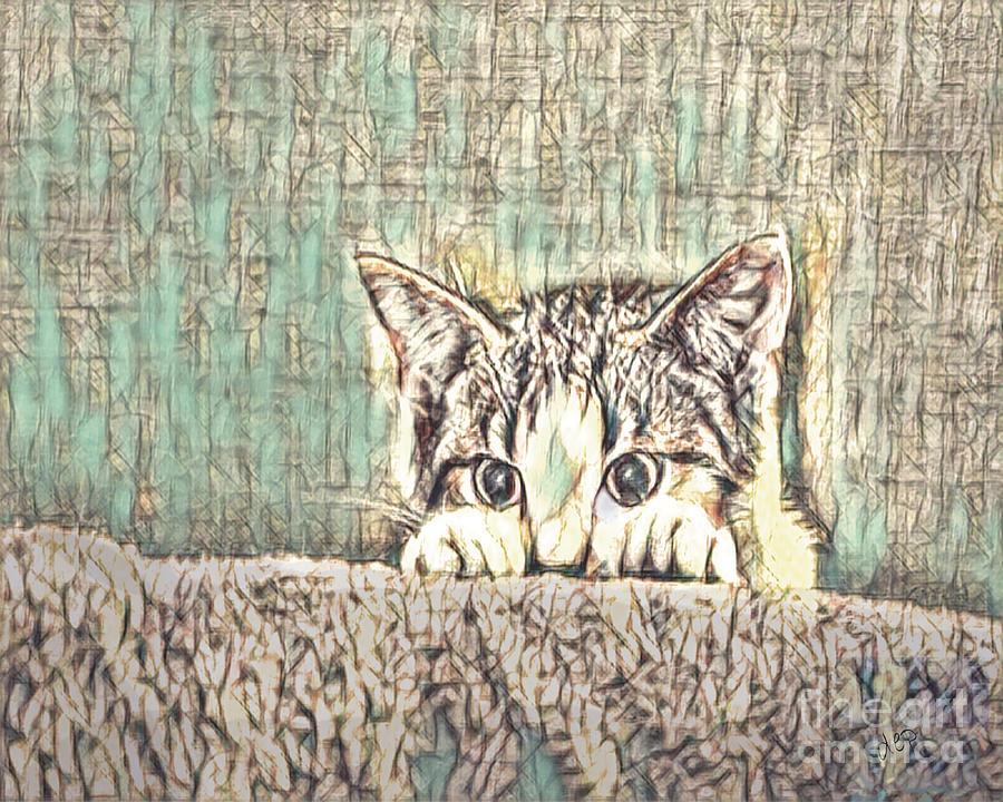 Kitty Mixed Media - Peering kitty by dep Arts