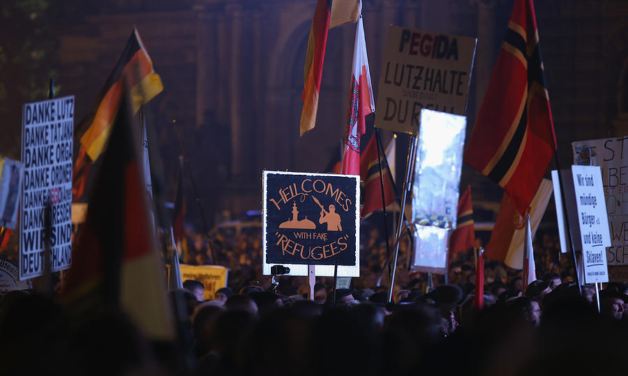 Pegida Movement Marks First Anniversary Photograph by Sean Gallup