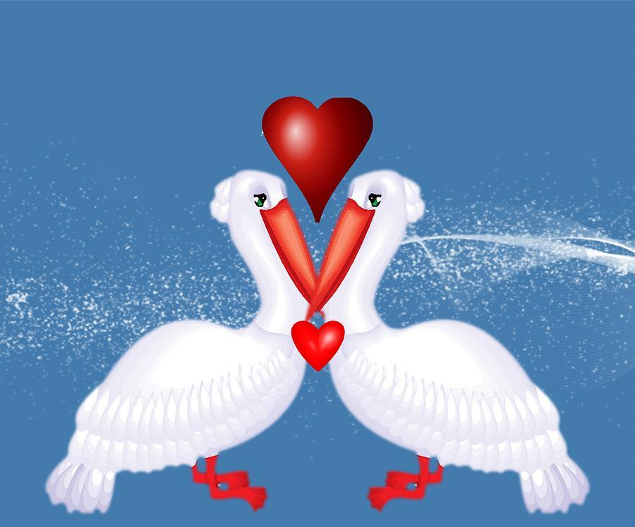 Water Bird Mixed Media - Pelican Love by Belinda Threeths