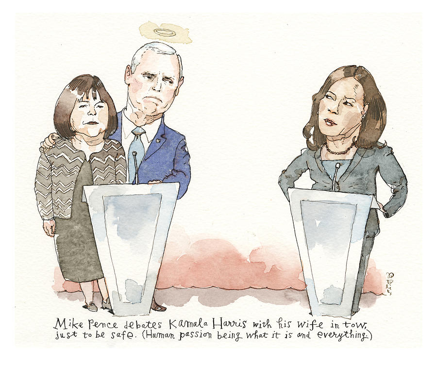 Pence Upholds the Modesto Manifesto Painting by Barry Blitt