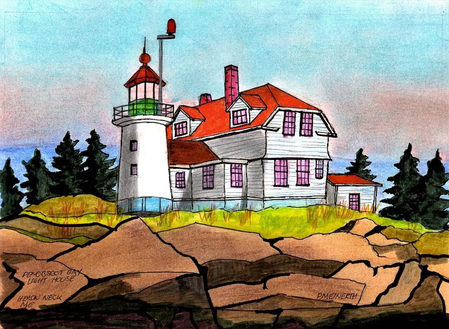 Penobscot Bay Lighthouse Drawing