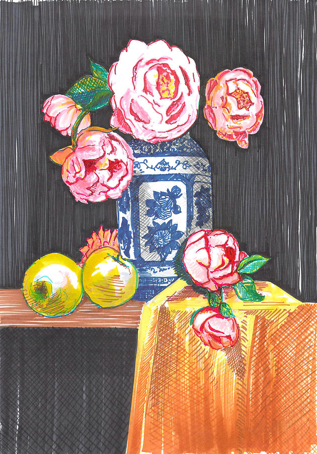 Peonies Drawing - Peonies and roses by Eima BLANK