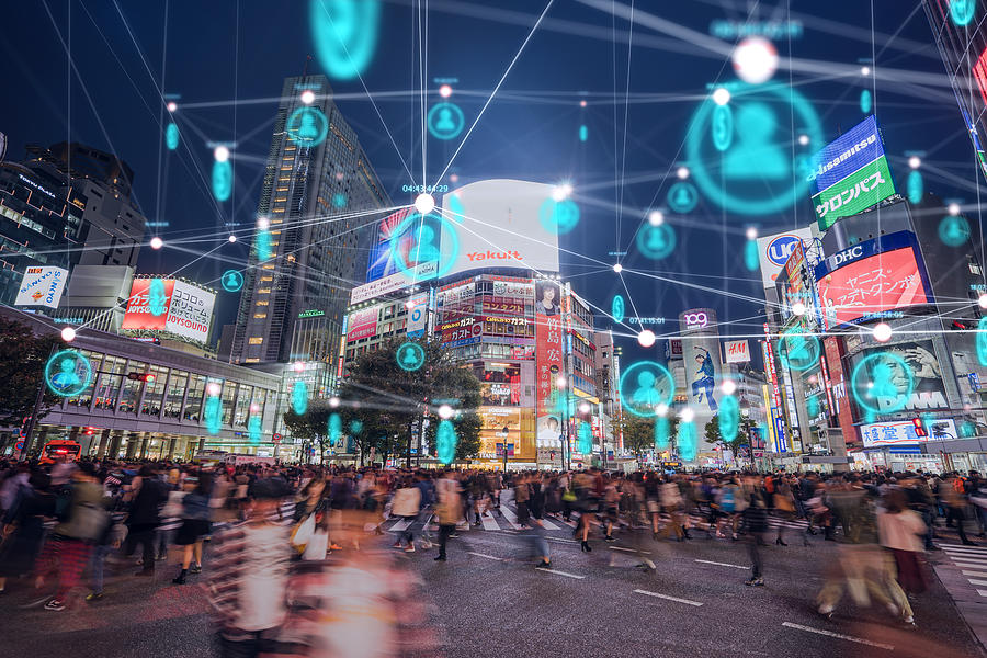 People and technology concept,Global communication icon with network connections line above crowded people walking .Internet of Things And smart city concept,Technology-Futuristic concept Photograph by MR.Cole_Photographer